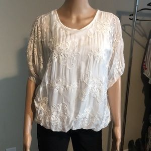 Tops - Lovely white part silk top with embroidered front